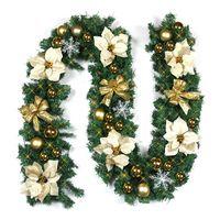 ingrosso belle ghirlande-Beautiful Flower Luxury 2.7M X 30cm Camino a mantello spesso Ghirlanda di Natale Albero di pino Rattan Decorazioni natalizie per la casa