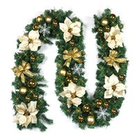Wholesale indoor christmas decorations online - Beautiful Flower Luxury M X CM Thick Mantel Fireplace Christmas Garland Pine Tree Rattan Christmas decorations for home