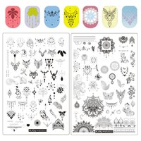 Wholesale stamping plates for nails resale online - ZJoy Plus Series Nail Art Stamping Plates Spring Garden Stencils For Nails Rec Flower Leaf Butterfly Nail Stamping Plate