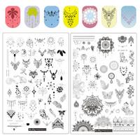 ingrosso piastre di timbro fiori-ZJoy Plus Series Nail Art Stamping Plates Spring Stencil da giardino per unghie Rec Fiore foglia Farfalla Nail Stamping Plate
