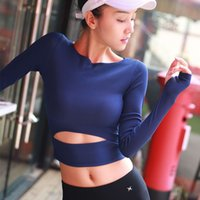 camisas del vientre de las mujeres al por mayor-Sexy Lumbar Belly Fitness Top Womens Tops Top transpirable Top Camisas largas para mujeres Fitness Sport Shirt Running Workout