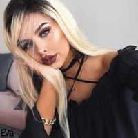 Wholesale Platinum Lace Wigs - #1bT613 Glueless Full Lace Blonde Human Hair Wig Silky Straight Platinum Human Hair Lace Front Wigs With Baby Hair Side Part