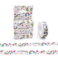 ingrosso animali a nastro washi-15mm * 10m Cute Cartoon Cartoon arcobaleno Animali Unicorno decorativo Washi Tape DIY Scrapbooking nastro adesivo Scuola Forniture per ufficio 2016