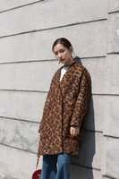 Wholesale Wollen Coats - 2017 Winter Women Fashion Designer Leopard Wollen Coat Thick Long Warm Loose Split Party Long Sleeves Luxury Femme Clothes