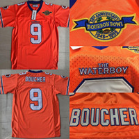 Wholesale football dogs - Men's Adam Sandler Bobby Boucher MOVIE The Waterboy Mud Dogs Football Jersey with Bourbon Bowl Patch Orange Stiched Name & Number & Logos