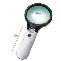 magnify led ışık toptan satış-Aydınlatma büyüteç 10 kez 20 kez tutan, LED optik okuma takı plastik taşınabilir büyüteç