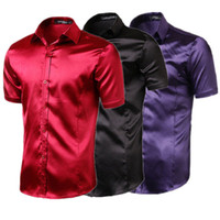 rayon tee shirts 2018 - Luxury Business Shirts Men Tuxedo Dress Shirts Smooth Silk Short Sleeve Male Tee Tops Loose Fit Turn-Down Collar Button Down