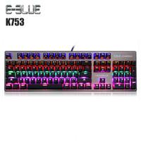 компьютерные ключи пк оптовых-E - 3LUE K753 Wired USB Mechanical Keyboard 104 Keys with Backlight Computer Keyboard Gamer Blue Switch For Gaming PC Laptop