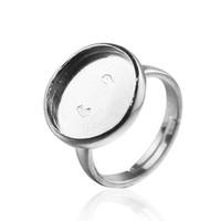 einstellbare ringe großhandel-Beadsnice Ring Basis 925 Sterling Silber Ringrohlinge mit runder Lünette Einstellung für 16mm Cabochons oder Kameen einstellbare Ringeinstellung ID 30065