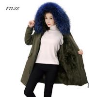 b9cfcdf56c0 Ftlzz зимняя куртка женщины толщина утка вниз с капюшоном парки большой  реальный енот меховой воротник теплый снег съемная подкладка пальто