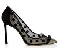 schmetterling high heel schuhe großhandel-Transparente Spitze High Heels Schuhe Spitz Stiletto Heels Frauen Schuhe Polka Dot Mesh Schmetterling-Knoten Frauen Pumpen