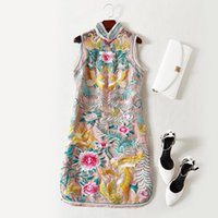 Wholesale Mini Industry - European women's wear 2018 The new spring Sleeveless collar Heavy industry phoenix flowers embroidery Chinese dress