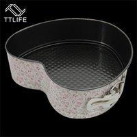 canlı kek toptan satış-TTLIFE 3 ADET Çiçek Desen yapışmaz Kek Pan Pişirme Kalıp Kek Kalıp Dekorasyon Aracı Kare Yuvarlak Kalp Canlı Alt Tokaları