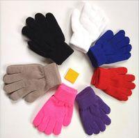 bebek parmak eldivenleri toptan satış-Moda chilldren kalınlaşmak Sihirli Eldiven bebek fırçalanmış Eldiven Kız Erkek Çocuklar Germe Örme Kış Sıcak Eldiven bebek örme parmak eldivenler