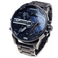 montres de plongée perpétuelles achat en gros de-DZ 7331 Marque De Luxe Montre Pour Homme Grand Cadran Montre-Bracelet Militaire 2 fuseau horaire Hommes Montre De Sport De Mode Robe Montres Casual Quartz Montre reloj