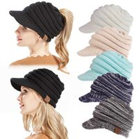 Wholesale knitted yarn - 12 Colors CC Beanies Hats Winter Knitted Cap Brim Ponytail Messy Bun Solid Ribbed Beanie Warm Headwear DDA661 Kids Hats