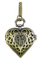 Wholesale Necklace Chain Pocket Watch Heart - Hollow Heart-Shaped Pocket Watch Necklace Pendant Chain Bronze