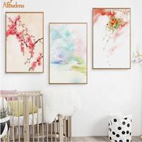 abstrakte landschaft gemälde einzigen leinwand großhandel-Landschaft Kirschblüten Leinwand Gemälde Chinesischen Stil Berg Abstrakte Poster Nordic Wandkunst Bild Home Decor
