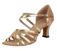 Wholesale ballroom woman salsa dancing shoes - Womens Gold PU Leather Striped Latin Dance Shoes Ballroom Modern Salsa Tango Practice Dancing Sandals Suede Sole