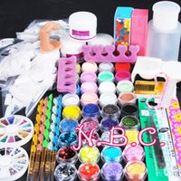 Wholesale acrylic designs for nails - Acryilc Powder Dust Nail Art Kit French Tips Glitter File d Design Without Acrylic Liquid For Manicure Nail Art Tools Salon Set