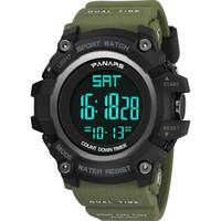 reloj de correo al por mayor-La nueva llegada llevó los relojes de pulsera digitales de los hombres de los deportes de los deportes de la moda de agua con el reloj de la función del reloj de alarma