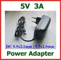 ingrosso adattatore alimentazione 5v 3a-10pcs Caricatore universale 5V 3A Caricabatterie EU US Alimentatore DC 5.5x2.1mm / 5.5x2.5mm