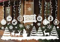 yılbaşı vinili pencere çıkartmaları toptan satış-Noel Kardan Adam Çıkarılabilir Ev Vinil Pencere Duvar Çıkartmaları Çıkartması Dekor Sıcak Satış Noel Şeffaf pencere Duvar Kağıdı Dükkanı