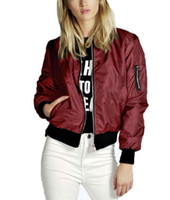 Wholesale jackets women resale online - Spring Autumn Women Lady Thin Jackets Fashion Basic Bomber Jacket Long Sleeve Coat Casual Stand Collar Thin Slim Fit OuterwearSpring Autumn