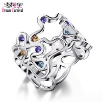 Wholesale champagne jewelry sets - DreamCarnival1989 Sexy Hollow Rings for Lady Purple Champagne Blue Zircon Engagement Jewelry Wholesalers Discount anillos mujer
