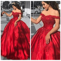 Wholesale sequin beaded satin ball for sale - 2018 New Elegant Red Ball Gown Off Shoulder Prom Dresses Long Appliques Beads Puffy Evening Party Gowns Plus Size Custom Made Dresses