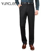 pantalones casual de negocios de longitud al por mayor-YUNCLOS 2018 New Arrival Pants Men Dark Grey Pantalon Hombre Full Length Trousers Hombres Classic Design Business Casual Suit Pants