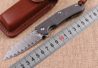Wholesale camping tool belt resale online - VG10 Damascus Wolf Smoke Folding Survival Knife Titanium Handle Hunting Tactical Pocket Knives EDC Tools With Belt Leather Sheath P228F