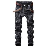 vestido de discoteca de alta moda al por mayor-NUEVA justin bieber FOG hombres jeans de tinta de salpicaduras de nieve HIPHOP Moda pantalones vaqueros de diseño flacos ocasionales de alta calidad de cantantes de discotecas vestido de jeans
