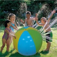 Wholesale happy balls - Happy Inflatable Beach Lawn Water Ball Outdoor Sprinkler Summer Inflatable Water Spray Balloon Outdoors Play In The Water Beach Ball free s