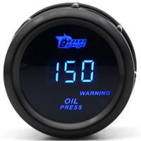 medidor digital azul venda por atacado-MEDIDOR de DRAGÃO 2 polegada 52 MM Medidor De Pressão De Óleo Cor Preta Digital Azul Levou 0-150PSI