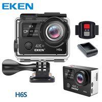 ingrosso dv telecamera remota-EKEN H6S originale 4K Full-Time EIS Ultra HD Action Camera Sport WIFI HDMI Dual screen 170 Wide Angle telecomando DV impermeabile