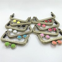 Wholesale Coin Clasps - cute colorful eye buckle design straight carved edge vintage bronze color 8.5cm female DIY coin bag metal clasp purse frame 10pc