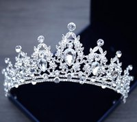 Wholesale diamante hair accessories - Silver Color Luxury Sparkling Wedding Diamante Pageant Tiara Prom Crystal Bridal Crowns For Bride Hair Jewelry women Accessories