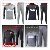 Wholesale Kids Boys Sweaters - 17 18 KIDS Utd tracksuitSurvetement POGBA football training kids kit Soccer Chandal 2018 LUKAKU united jscket boy training pant sweater suit