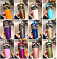 Wholesale 16oz bottles resale online - 2018 New oz coffee mugs Stainless Steel Buffalo Mug with Lid Straw Drinking Wine Cocktail Water Cups Beer Bottles Drinking Mug