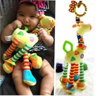Wholesale cute giraffe ring resale online - sound cute developmental infant baby birthday gift stuffed plush hand bell ring rattle bed hanging toy giraffe
