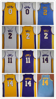 Wholesale Brandon Shirts - NCAA Wholesale Fan 2018 Men 0# Kyle Kuzma Jerseys 2#Lonzo Ball 14# Brandon Ingram Basketball Jersey 11# Brook Lopez Shirt Free Shipping