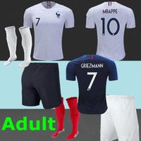 Wholesale Full Feet - france soccer jerseys adult full kit 2018 world cup POGBA Griezmann Mbappé football jersey kits shirts maillot De foot full kit with socks