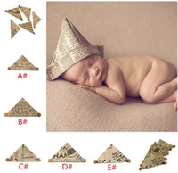 Wholesale vintage newborn photography props for sale - Group buy Handmade baby Newspaper Hat Infant Bonnet baby Vintage Photography props foldable newborn hat for Mos TO420