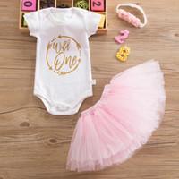 ingrosso pagliaccetto di compleanno della bambina-Baby Girl Clothing Prima Birthday Girl Party 2018 Pagliaccetto Set fasciatura Costume 12 mesi Toddler Battesimo Battesimo Dress