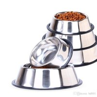 Wholesale cat stainless steel feeder for sale - Group buy Silver Round Pet Feeders Dishes Stainless Steel Dog Cat Bowl Resistance To Fall Puppy Bowls With Anti Skid Ring yr BB