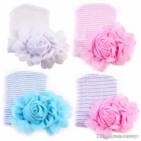 Wholesale flower knit hat - 2017 Newest Newborn Baby Crochet Hats with Big Flowers Beanie Cute Baby Girl Chiffon Flower Knitting Stripe Hedging Caps Cotton 0-6M BH62