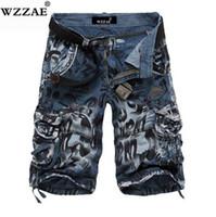 pantalones vaqueros de carga militar al por mayor-WZZAE 2018 Nuevo Diseño Hombres Camuflaje de Verano Pantalones Cortos de Carga Militar Bermuda Masculina Jeans Male Fashion Casual Baggy Shorts de mezclilla