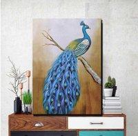 nackte klassische gemälde großhandel-HD Print Peacock Leinwand Gemälde Ungerahmt Klassischen Stil Große Pfau Tiere moderne Wohnkultur Bild Für Wohnzimmer