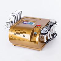 cavitación rf láser de diodo de vacío al por mayor-Color oro Lipo láser 40k Láser de diodo de cavitación 635nm 650nm Lipo Láser Multipolo RF Vacío Adelgazante Celulitis Grasa